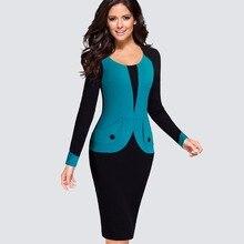Для женщин элегантные вечерние офисные Бизнес лоскутное платье карандаш Повседневное Colorblock контрастные Оболочка Встроенная облегающее платье HB343