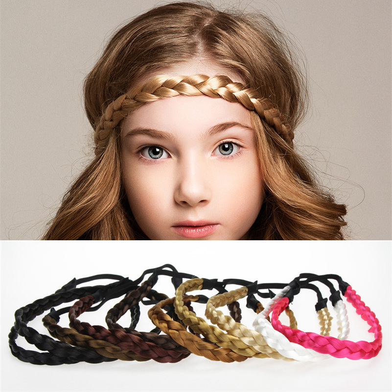 Fashion Girls Women Wig Braid Headbands Kids Hair Accessories Boutique Handmade Elastic Hairbands Kids Rubber Hair Band   Headwear