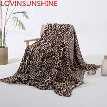 Leopard Fuzzy Blanket Sheets Super Soft Rabbit Fur Crystal Short Plush Bedding Sofa Cover 130*160cm/160*200cm(China)