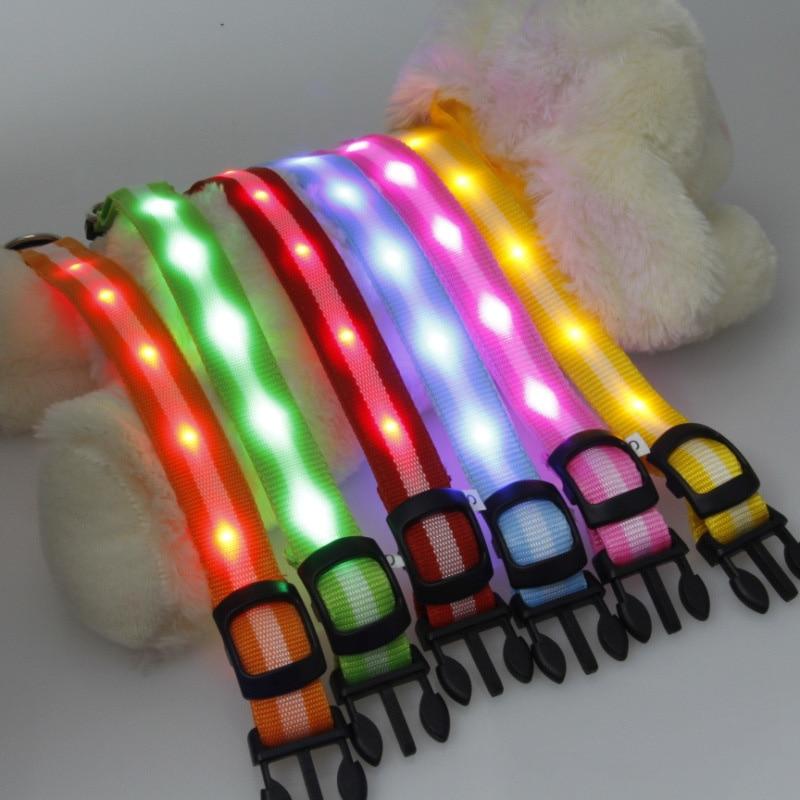 Nylon Night Safety Glow Flashing LED Pet Supplies Dog Cat Collar for Dogs Collars J2Y
