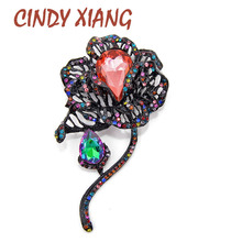 CINDY XIANG 5 Colors Available Large Crystal Flower Brooches for Women Vintage Luxury Fashion Pins Wedding Buy One Get One Gift