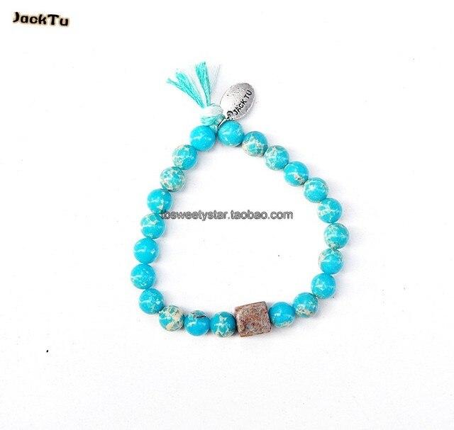 blue imperial mix tassle elastic bracelet for men