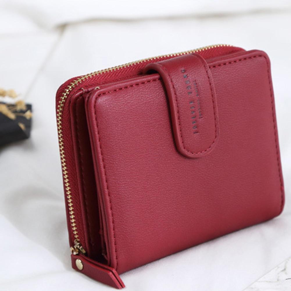 Lady Fashion Faux Leather Wallet Card Holder Zipper Short Purse Christmas Gift women short wallet faux suede leather zipper