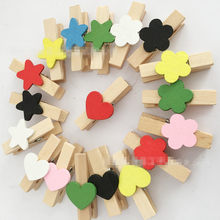 100pcs Wooden Craft Clips Photo Paper Peg Wood Clips Mini Wooden Heart Flower Clothespins for Wedding Pictures Notes Craft(China)