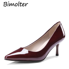 Bimolter Women High Heel Shoes Basic Model Pumps Lady Sexy Pointed Toe Wedding Wine Red Handmade Thin Heels NB094