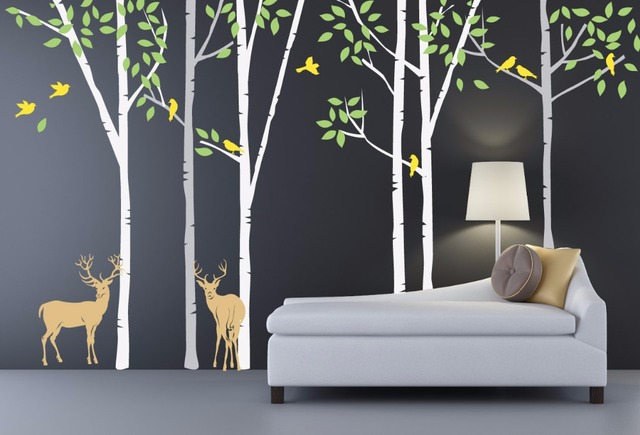 Large Birch Tree With Deer Wall Decal For Kids Baby Nursery Living Room Moose Home