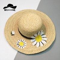 Wearzoneブランドデザイン手刺繍女性のファッションわら帽子デイジー帽子広いつば手紙ビーチ太陽の帽子