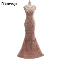 Real Photos Tulle Crystal Champagne Color Party Occasion Formal Long Mermaid Evening Dress Heavy Beaded In