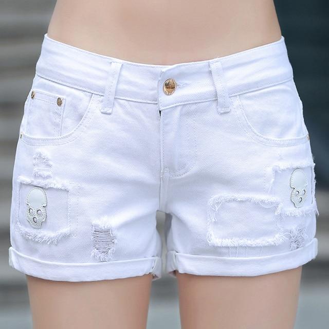 Summer Women Whit Denim Shorts Skeleton Ripped Hole Vintage Short
