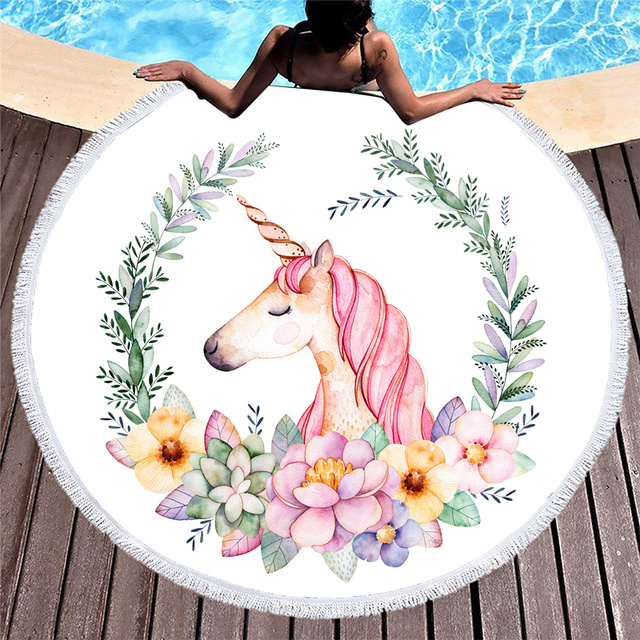 Wongs Bedding Round Beach Towel Unicorn/Skull/wolf/butterfly Microfiber Fabric Bath Towel 150cm Size Hot Sale