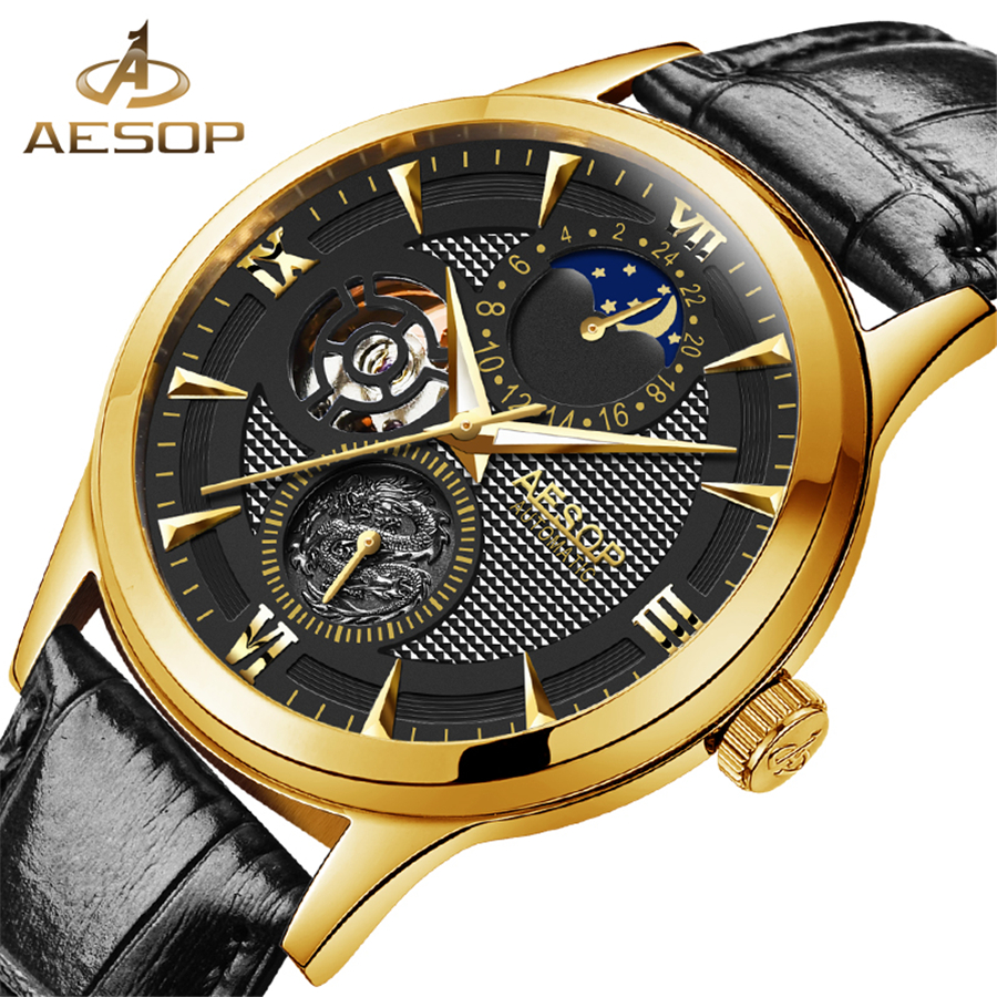цена на AESOP Moon Phase Auotmatic Movement Gold Case Black Genuine Leather Strap Mens Watches Top Brand Luxury Mechanical Watch Men