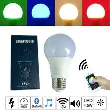 2018 New 4.5W E27 RGBW led light bulb Bluetooth 4.0 mesh smart lighting lamp color change dimmable AC100-240V for home hotel ktv