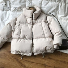 2019 Beige Color mujeres Parkas Casual invierno coreano cálido chaqueta femenina