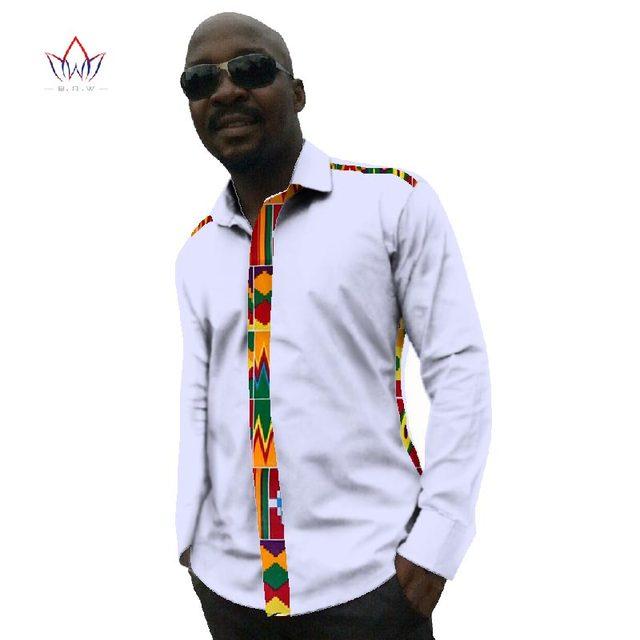 Outono Novo Estilo de Camisas Dos Homens Marca de Manga Comprida Moda Camisa  Branca Cera Africano 5f00c13c66d