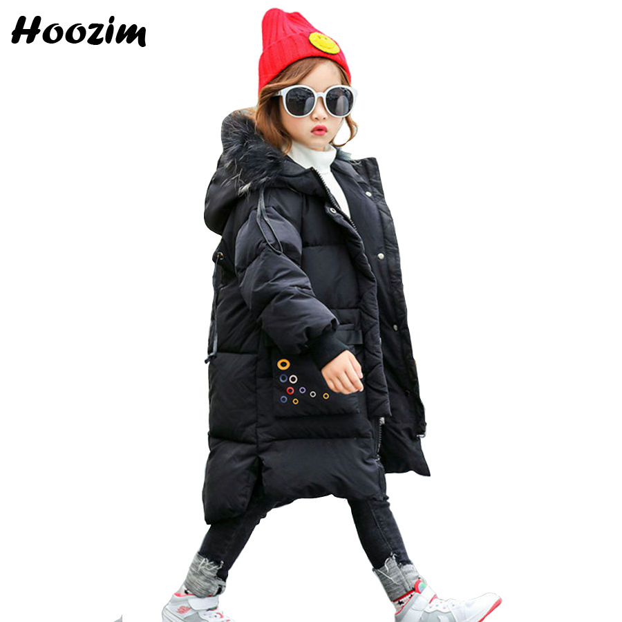 Winter White Duck Down Jacket For Girls 5 6 7 8 9 10 11 Years Fashion Thick Fur Cap Long Coat Boys Cool Children Outerwear Black цена