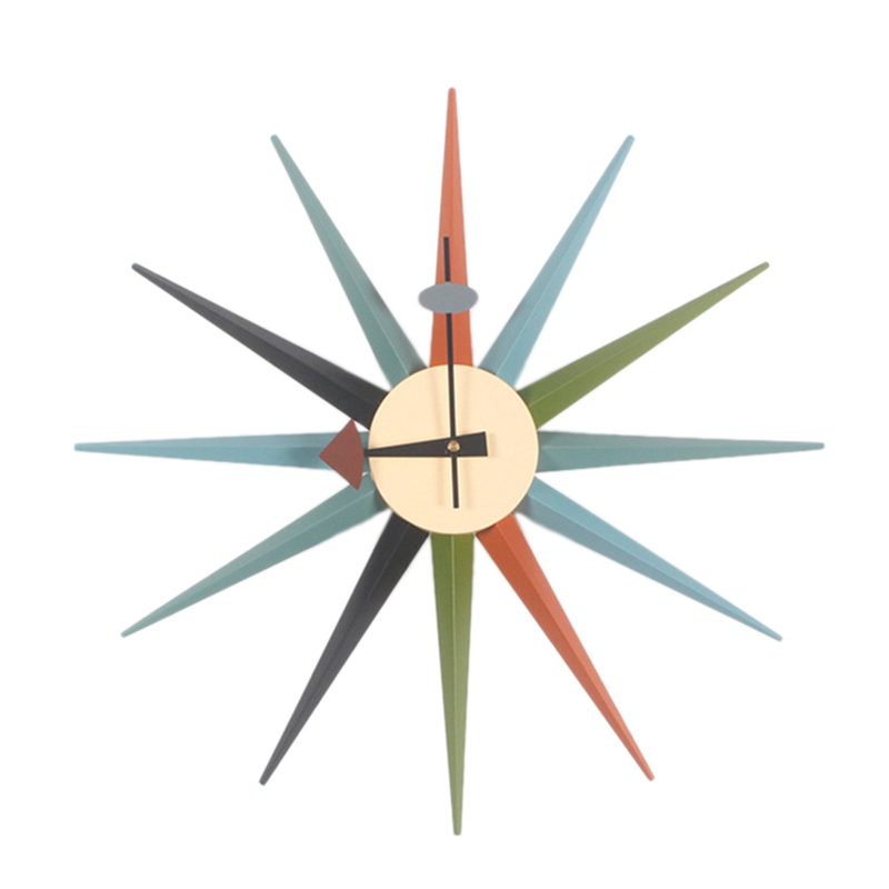 Round Retro Nordic Ray Clock Ornament Art Wall Clock Need To Assemble By Yourself Mixed Color WoodRound Retro Nordic Ray Clock Ornament Art Wall Clock Need To Assemble By Yourself Mixed Color Wood