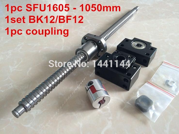 1pcs antibacklash ball screw 1605 - 1050mm end machined -C7+ BK/BF12  Support + 1pcs 6.35*10mm coupler