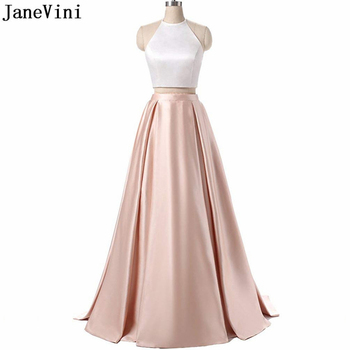 JaneVini Elegant Champagne Two Pieces Bridesmaid Dresses with Pockets A Line Halter Backless Satin Dress African Long Prom Gowns