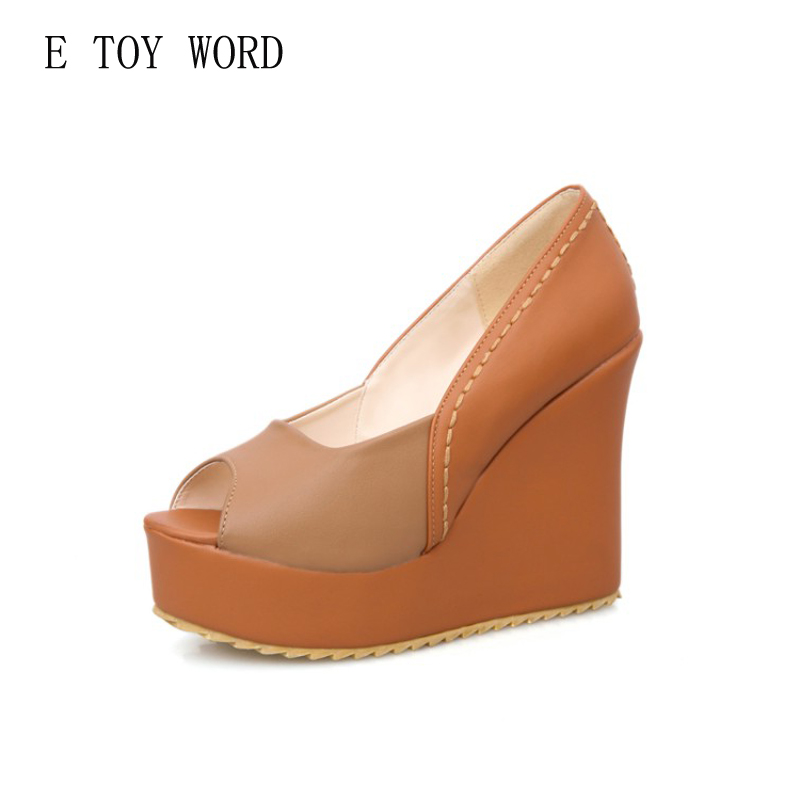 E TOY WORD Women pumps shoes Fish mouth wedge sandals summer female comfort muffin high heels waterproof shoes size34-43 e toy word summer platform wedges women sandals antiskid high heels shoes string beads open toe female slippers