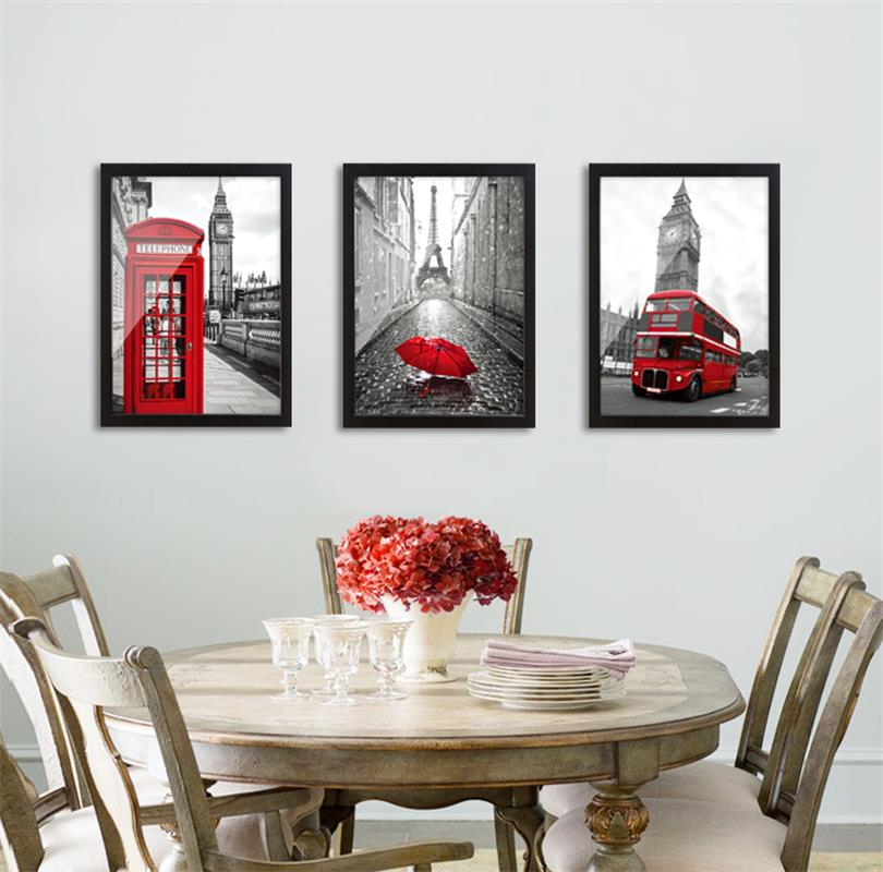 White Living Room Design: Modern Classic Scenery Black And White Red London Bus