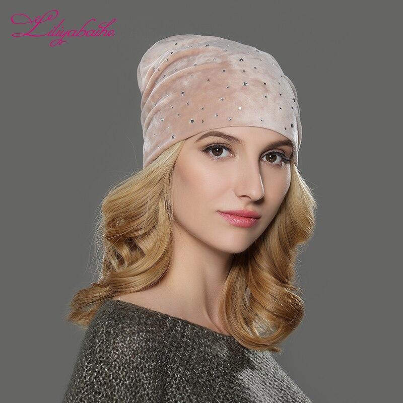 LILIYABAIHE Women Autumn And Winter Hat Girls Hats For Women Skullies Beanies Fluff Caps Small flash drill popular decoration