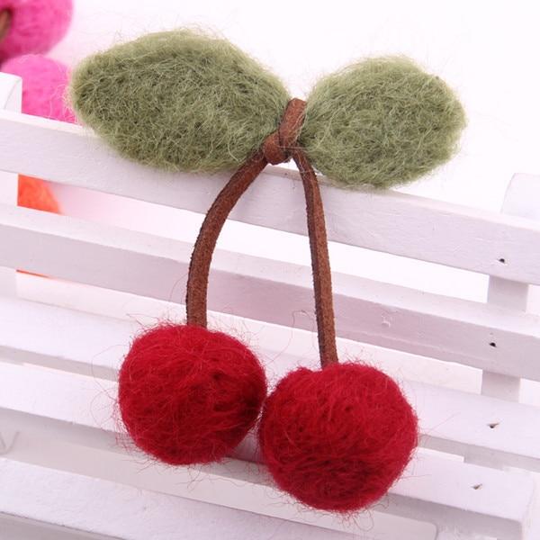 Hot Sale Hair Ornaments For Girls Fabrics DIY Hairpin Natural Wool Felt Cherry Design Barrette Cute Hair Clips   Headwear   For Kids