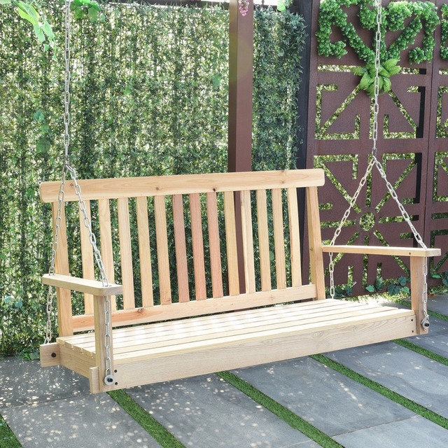 Goplus 4 FT Porch Outdoor Patio Swing Natural Wood Garden Swing Bench Patio  Hanging Seat Garden