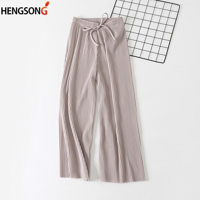43a749d0335 2018 new women wide leg pants Korean version of the wild nine pants loose  wide leg pants female summer sense high waist pants