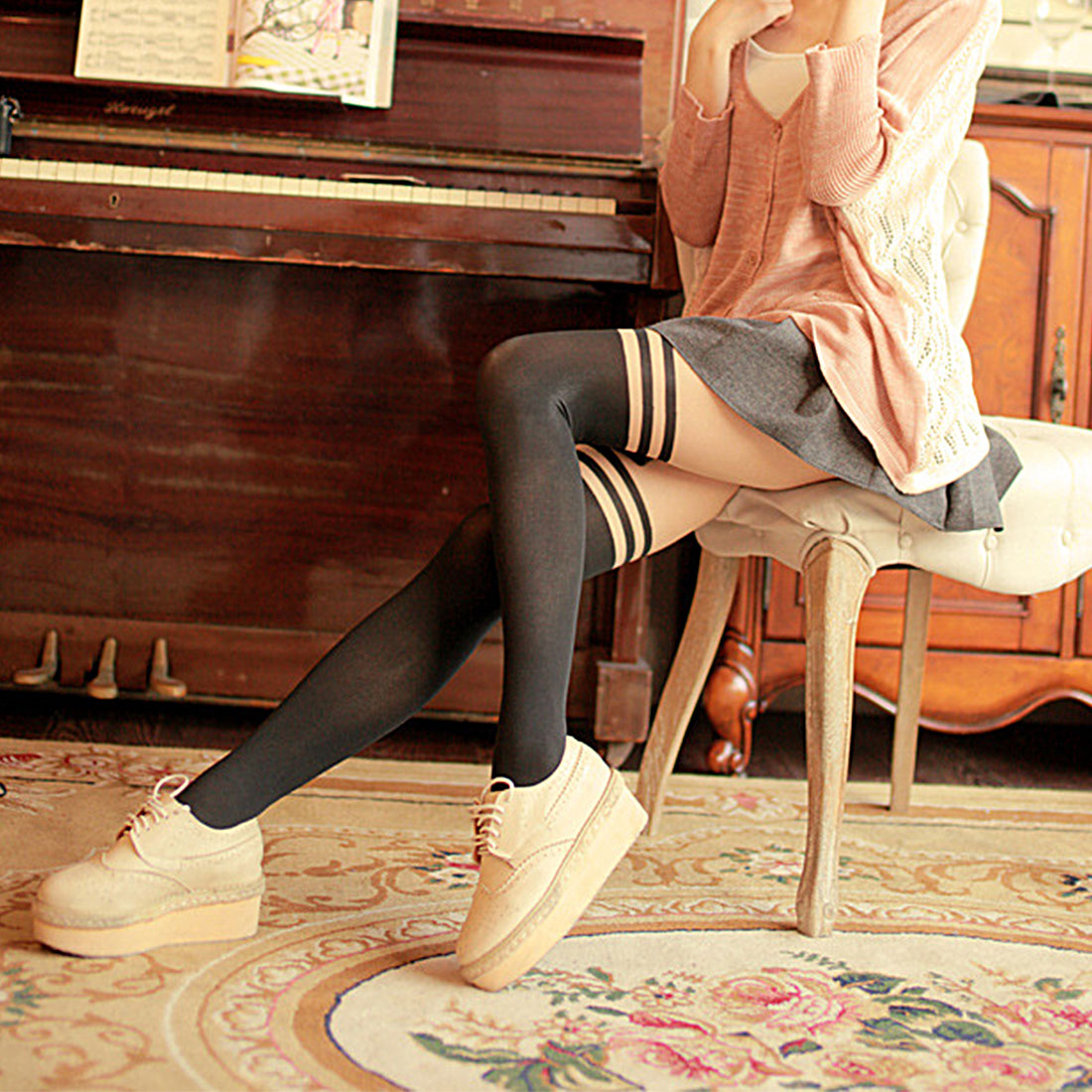 Sexy Black Women Temptation Sheer Mock Suspender Tights Pantyhose Stockings Cool Mock Over The Knee Double Stripe Sheer Tights
