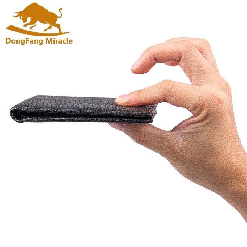 цена DongFang Miracle crazy horse leather wallet purse men genuine leather short design wallets vintage two-fold multi-card billfold онлайн в 2017 году