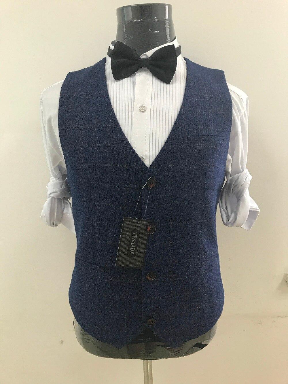 Latest Coat Pant Designs Plaid Suit Nothed Lapel Custom Tuxedo suit Groom Men Suits 3 Pieces Slim Fit Terno Jacket+Pants+Vest