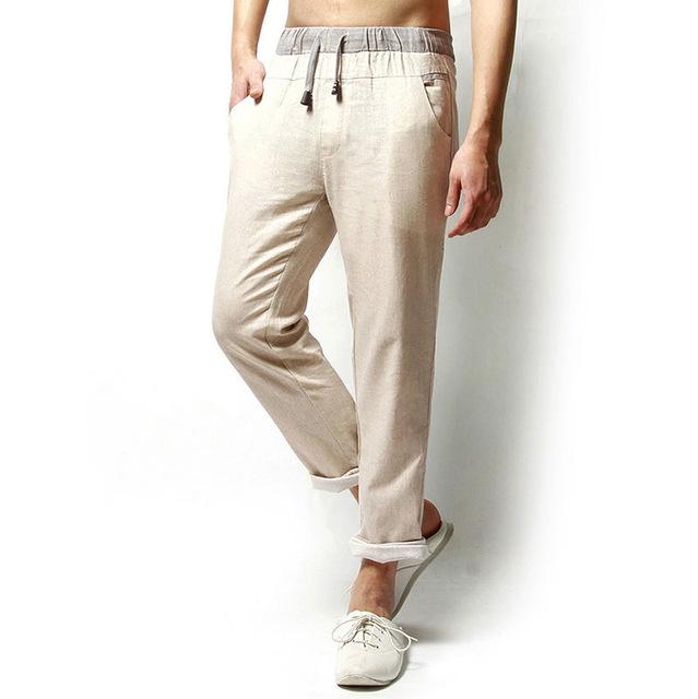2017 nuevo de alta calidad de Ocio de Verano de Lino de Algodón Elástico en La Cintura hombres Regulares Pantalones Inferiores Rectos de Lino Hombres Pantalones Casuales grande tamaño