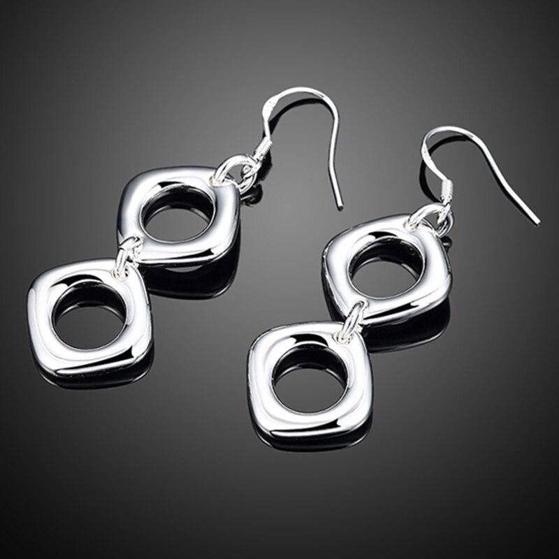 925 Silver Drop Earrings For Women Simple Double Square Wedding Jewelry Best Gift