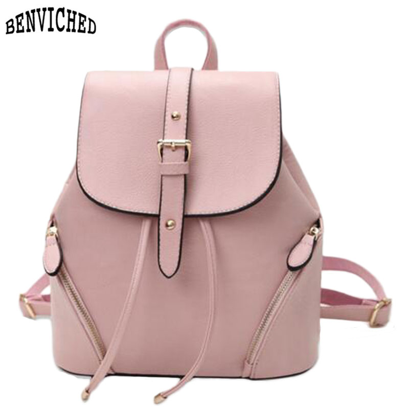 Casual Leather Women's Backpack Fashion Schoolbag Female Backpacks Women Preppy Style High Quality Rucksack Pink/Black Back Pack travel bag 3d print lion rivets back pack teenagers large capacity high quality pu schoolbag laptop backpack casual rucksack