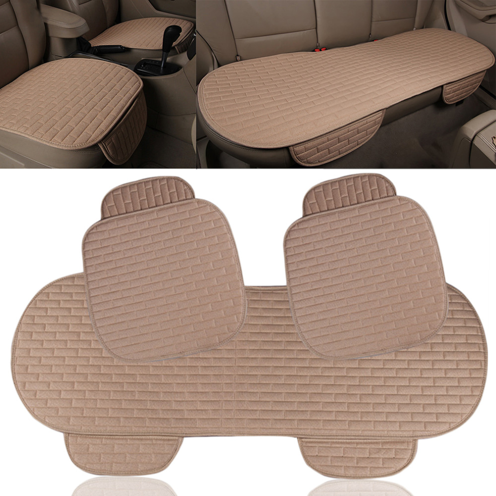 Four Seasons Car Seat Cushion General Non-Rolling Up Vehicle Car Comfortable Non-Slide Seat Cushion Linen Seat Cover Beige lotus printed car seat cushion linen pillow cover