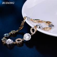 BUDONG 2017 Luxury Lady Gift Round Crystal CZ Chain Link Bracelet for Women Silver/Gold-Color Bangle Wedding Jewelry L147