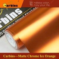 Orange Matt Chrome Vinyl Car Wraps Self Adhesive PVC Motorcycle Decals