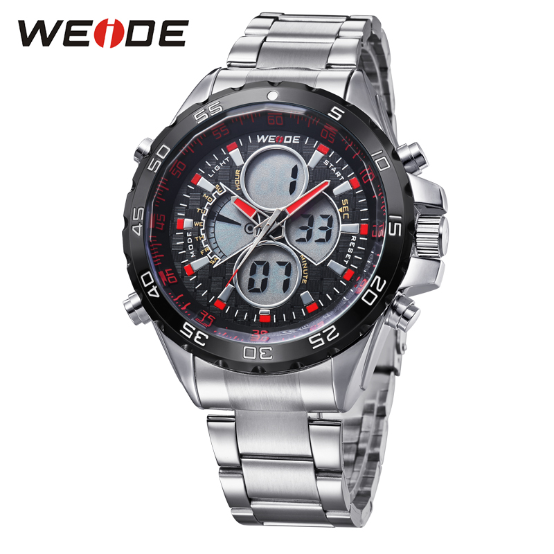 WEIDE 2018 New Watches Men Luxury Brand Full Steel Quartz Clock Led Digital Military Watch Sport Wristwatch Relogio Masculino weide genuine brand luxury men watch nylon sport digital black quartz relogios masculino watches large discs electronic clock