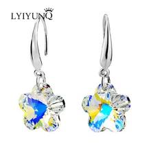 Luxury Austria Crystal Silver Plated Jewelry Fashion Long Plant Flower Drop Earrings For Women