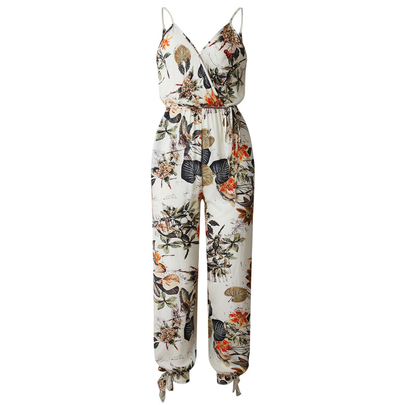 Boho 2019 Women Lace Up Bandage Wrap V-Neck Sexy Romper Hollow Female Floral Printed   Jumpsuits   Spaghetti Strap long Pants GV041
