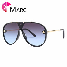 MARC Flat Black Pilot Sunglasses Metal Sun Glasses Brand Designer Women Men Shades Top Fashion Eyewear Oversized 2019NEW