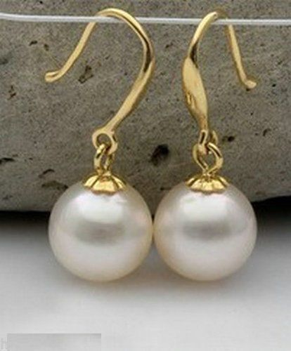 free shipping PERFECT AAA 10-11MM NATURAL SOUTH SEA WHITE PEARL EARRINGS 14k/20 SOLID GOLD