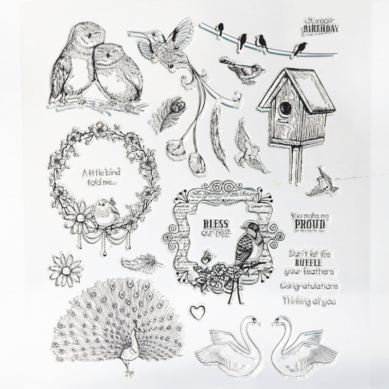 big Clear stamps 21*24cm  animal owl bird silicone rubber Transparent Stamp for DIY Scrapbooking card making  Decorative tools from 2012 ea1420 1ms new 0626 coastal bird stamps