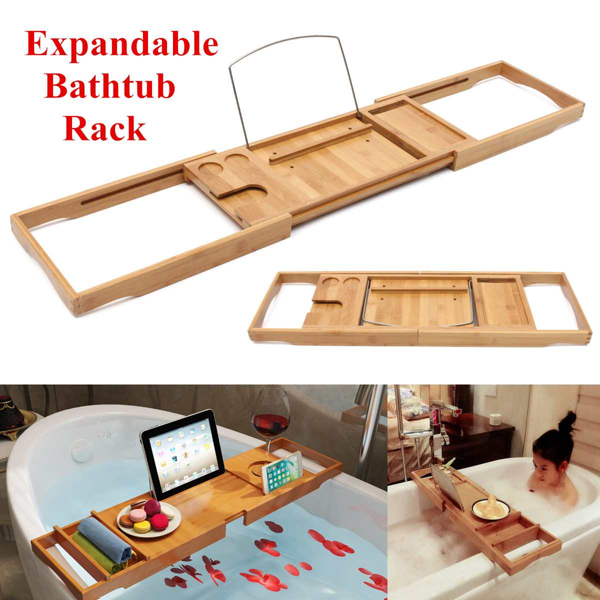 105X22X4cm Retractable Bamboo Bathtub Tray Wooden Storage Rack Caddy Shelf Tub Tray Holder Stand Bathroom Organizer Accessories