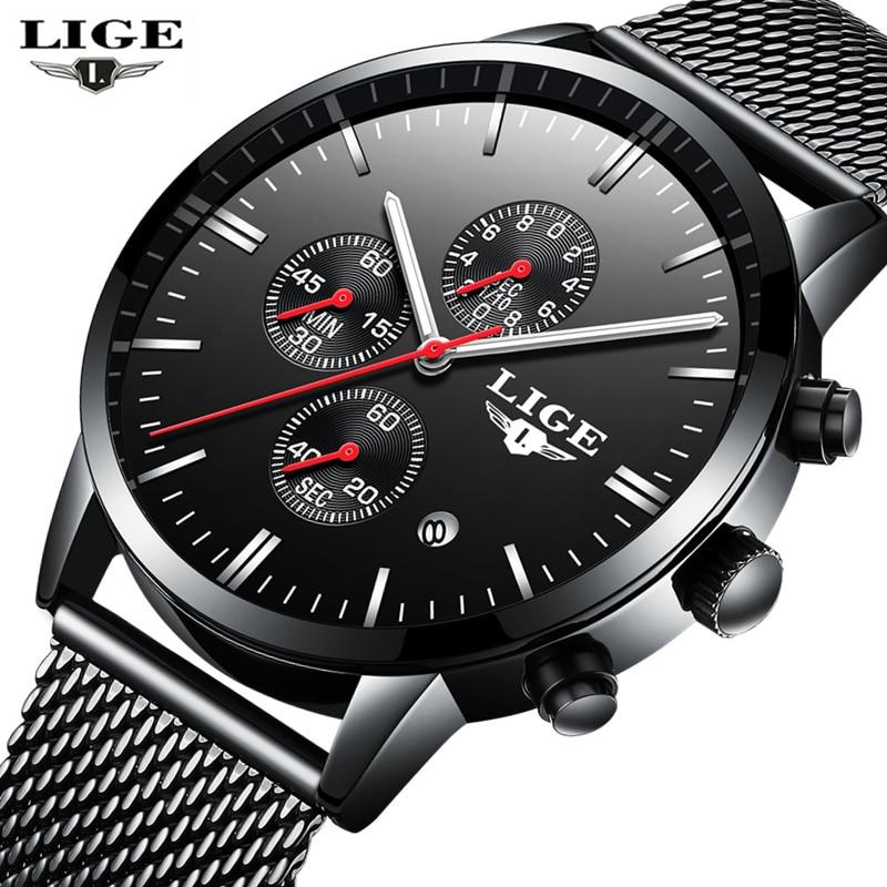 LIGE Luxury Brand casual Watches Men Simple Business Quartz Watch Man Mesh strap Date Fashion Black Clock relogio masculino