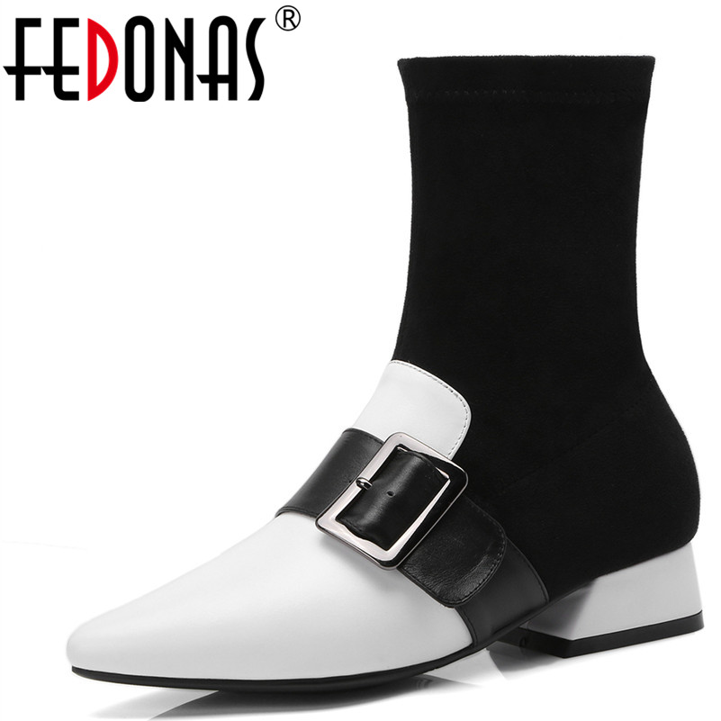FEDONAS Mode Chaussettes Bottes Sexy Bout Pointu Véritable Chaussures En Cuir Haute Automne Hiver Bottes Femme Marque Boucle Chaussures Chaudes Femme