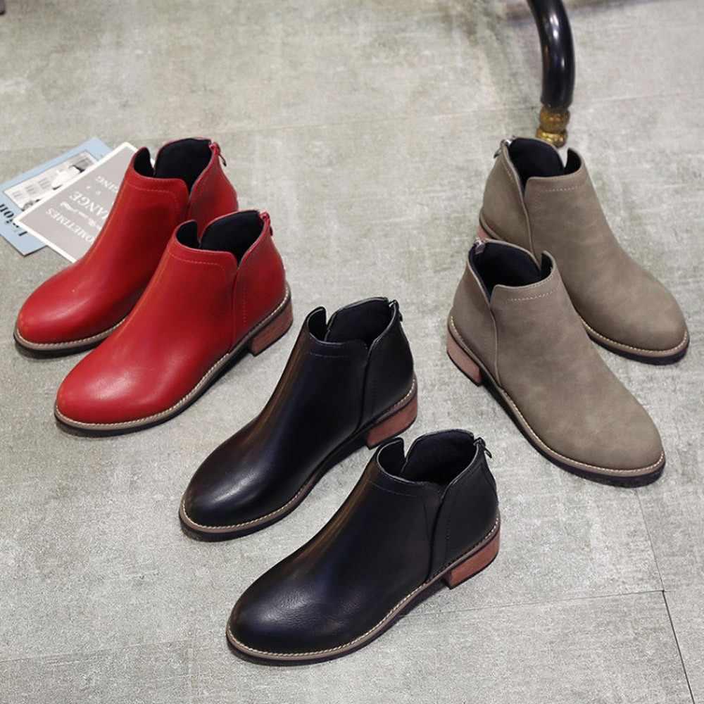 YOUYEDIAN Moda Kadın Ayakkabı Martin Çizmeler yarım çizmeler Fırçalayın Kalın Topuk Bayan Botları sapato feminino estampado sapato feminino # A3