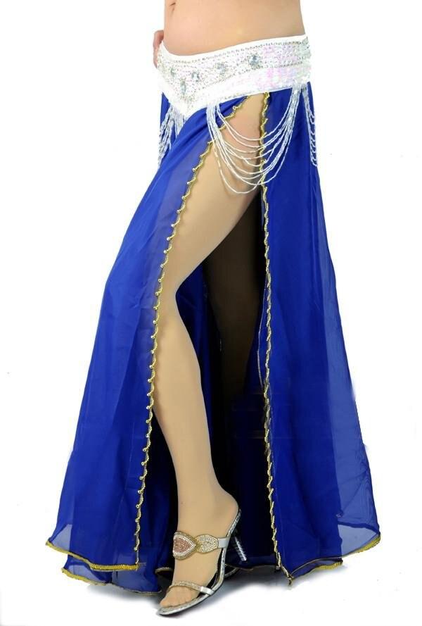 Модные/Горячие Новые Сексуальные костюмы для танца живота юбка bead edge 2 слоя с 2-сторонняя юбка-макси 10 цветов - Цвет: Royal blue