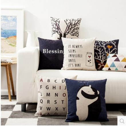 Nordic bear bear children simple blue cotton pillowcase bay window living room sofa cushion cover office car pillowcase