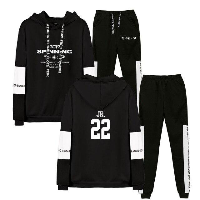 2019 Autumn/Winter GOT7 KPOP Hip Hop Hoodies Sweatshirts And Sweatpants Men Two Piece Set Hooded Suit Velvet
